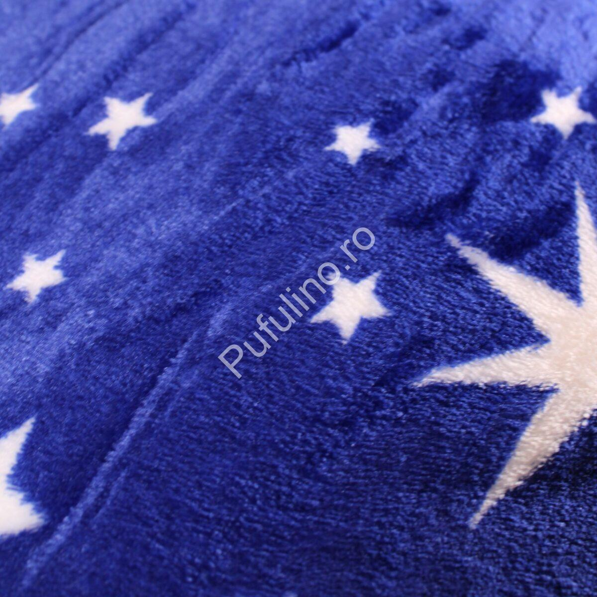 patura cocolino cu blanita stelute albastra