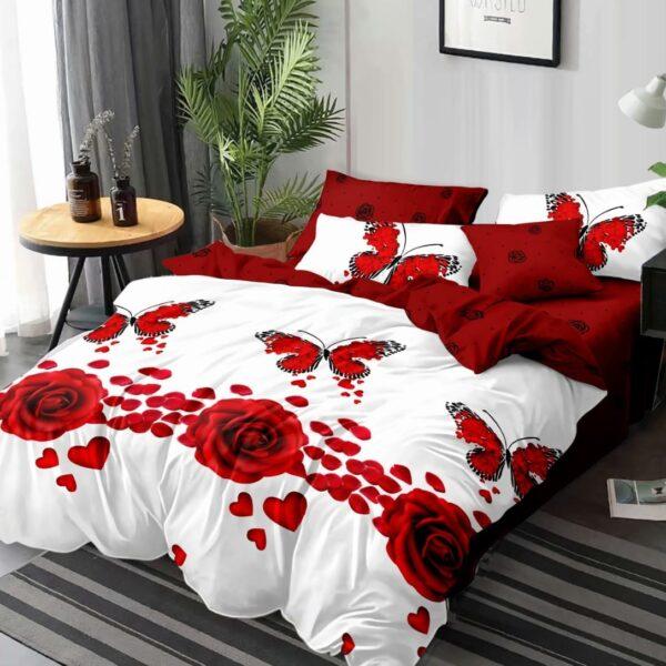 lenjerie alb rosie cu trandafiri