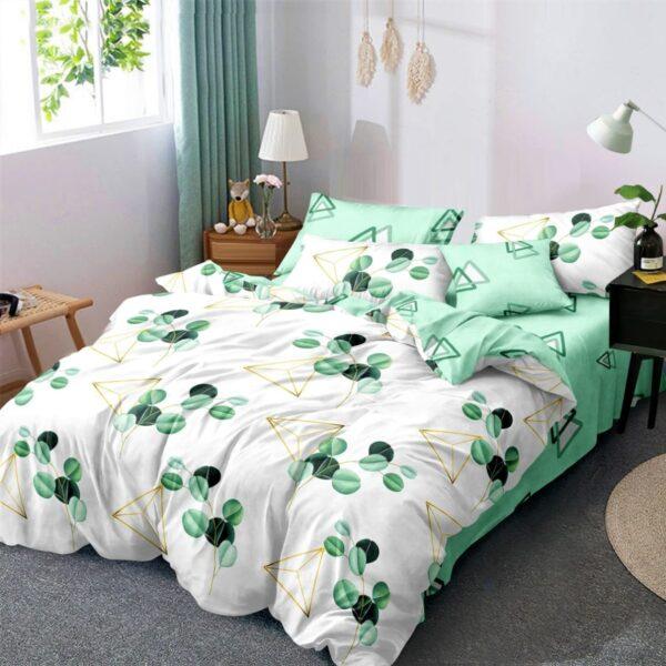 lenjerie alb verde cu frunze