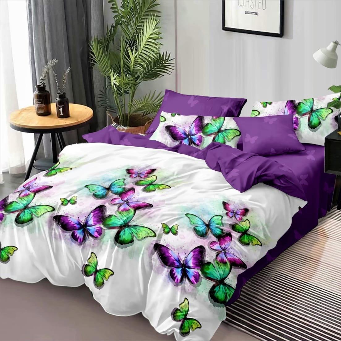 lenjerie alb violet cu fluturi colorati