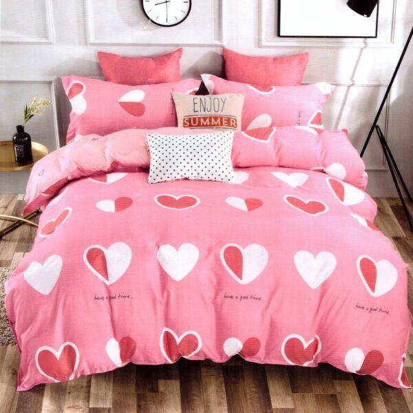 lenjerie de pat bumbac satinat roz cu inimioare