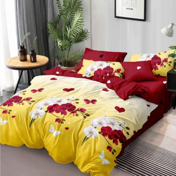 lenjerie galbena cu flori rosii si albe
