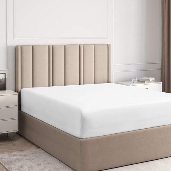 husa de pat cu elastic alba