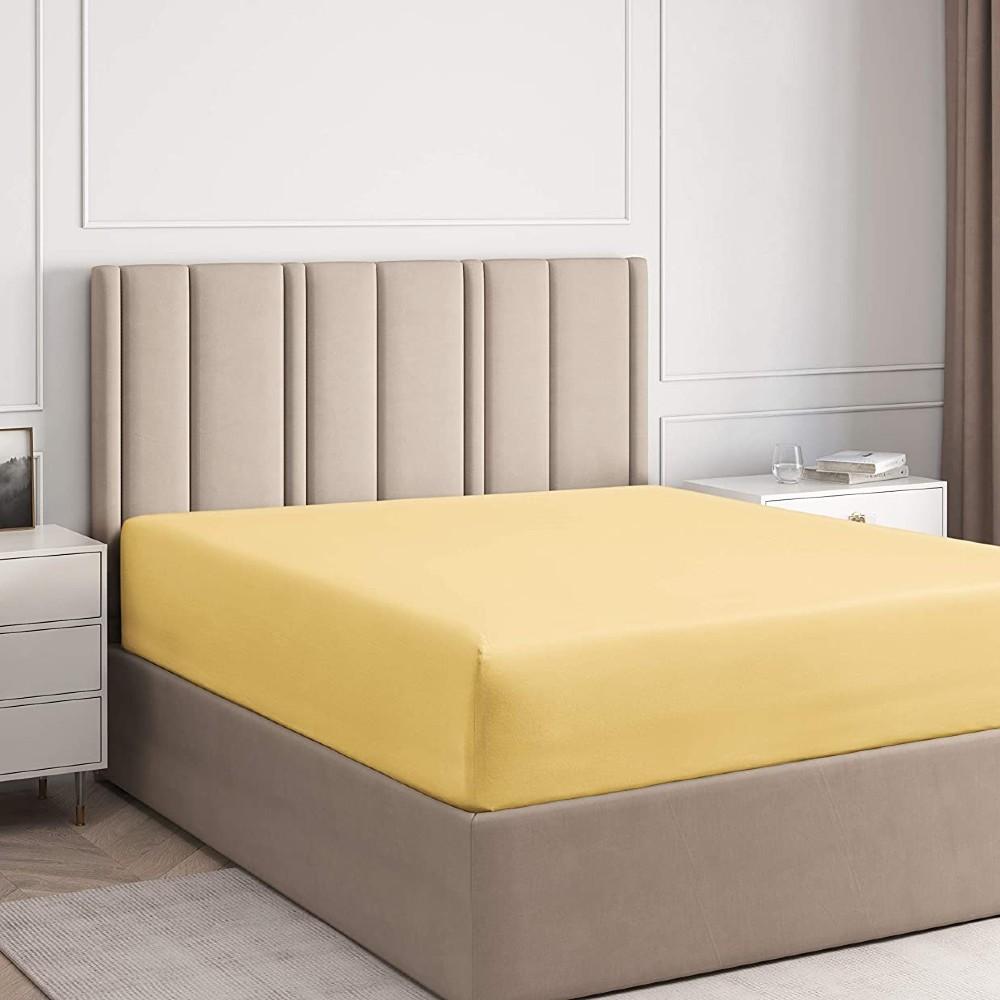 husa de pat cu elastic galbena