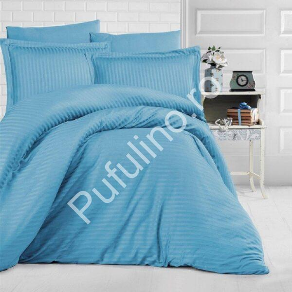 lenjerie de pat damasc albastra