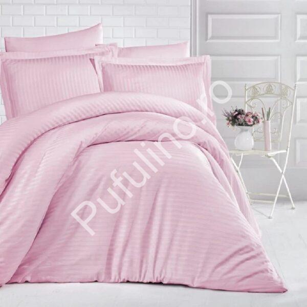 lenjerie de pat damasc roz