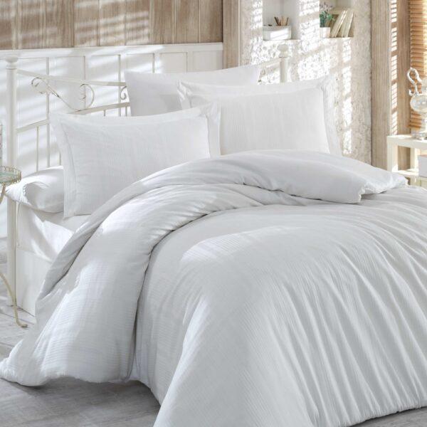 Lenjerie de pat 2 persoane din Bumbac 100% Satin - Hobby Strippe – Crem