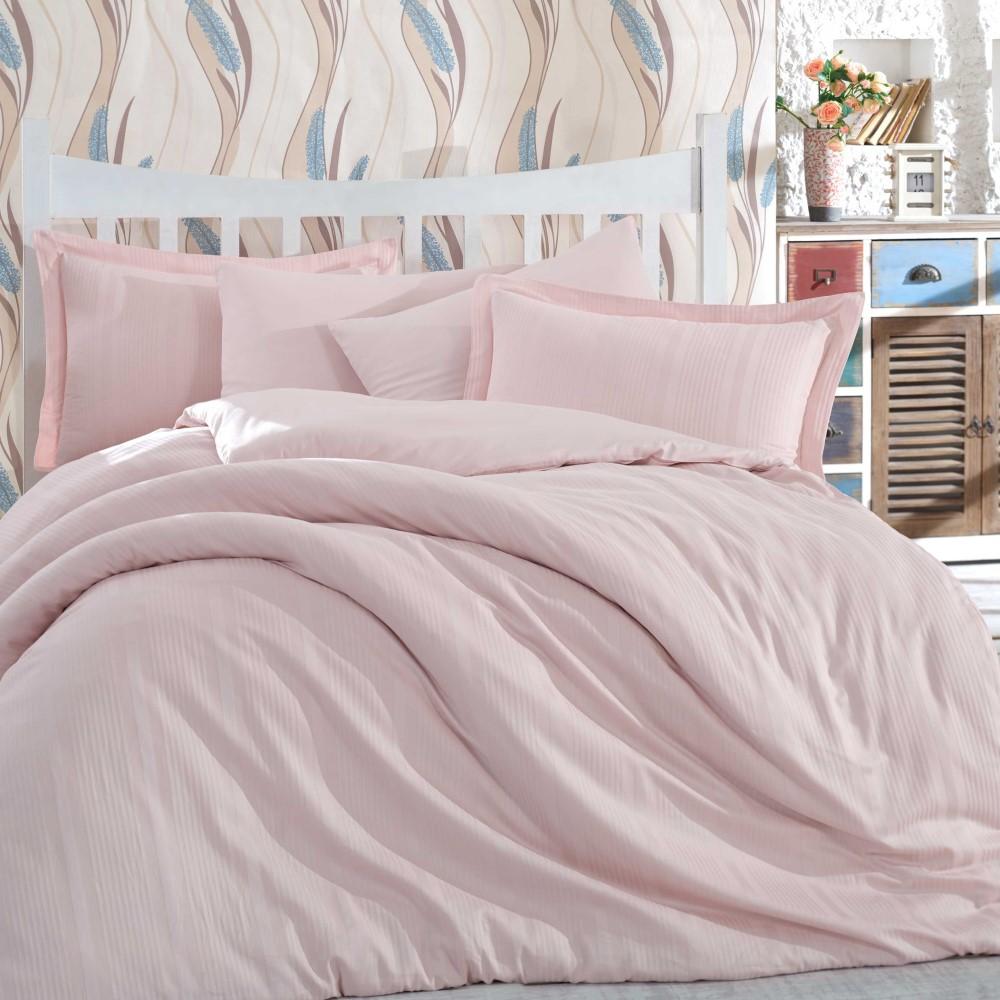 Lenjerie de pat 2 persoane din Bumbac 100% Satin - Hobby Strippe – Roz