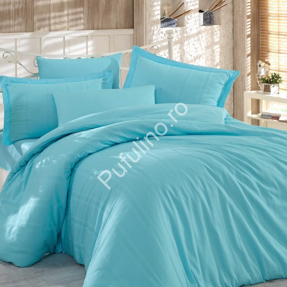 Lenjerie de pat 2 persoane din Bumbac 100% Satin - Hobby Strippe – Turquoise