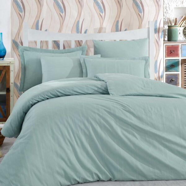 Lenjerie de pat 2 persoane din Bumbac 100% Satin - Hobby Strippe – Verde