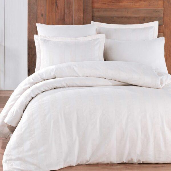Lenjerie de pat 2 persoane din Bumbac 100% Satin - Hobby Wafel – Alba