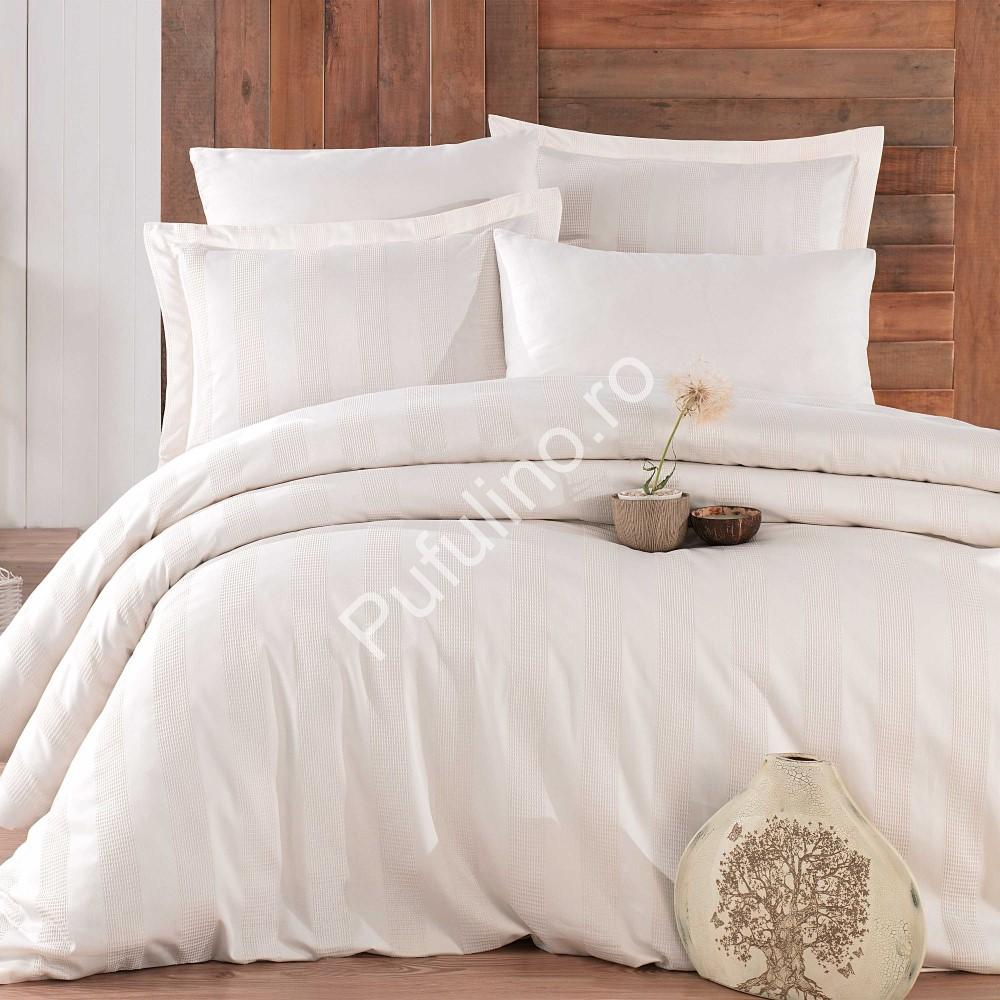 Lenjerie de pat 2 persoane din Bumbac 100% Satin - Hobby Wafel – Crem