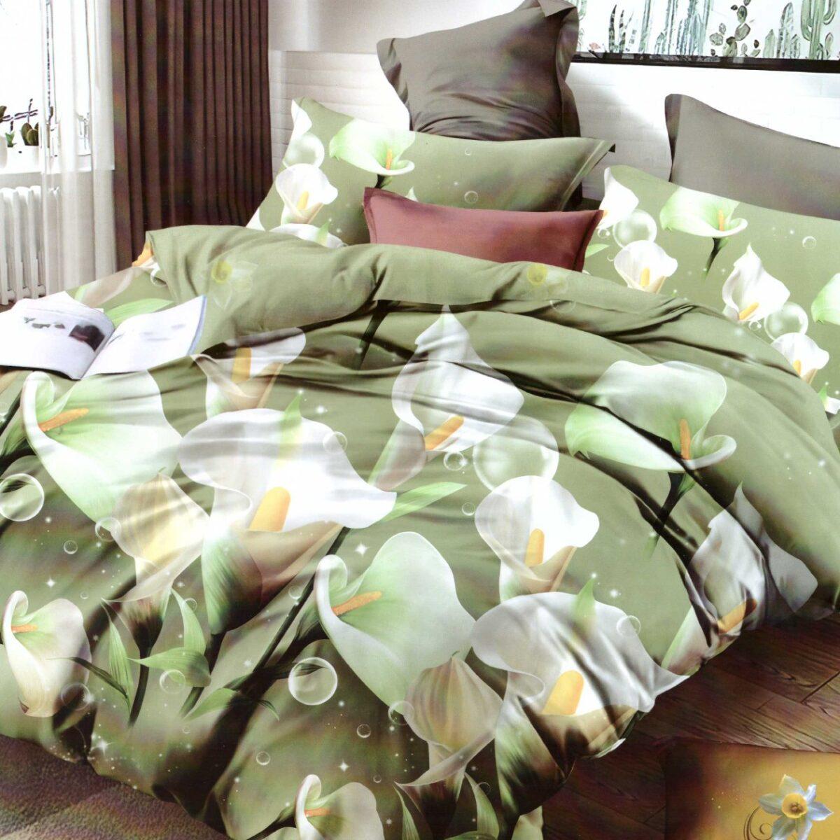 Lenjerie verde cu cala alba