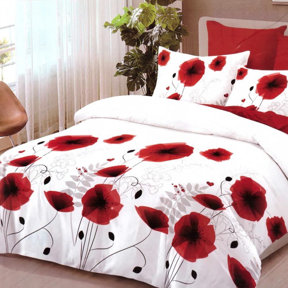 lenjerie de pat finet cu flori rosii (2) de pat finet cu flori rosii
