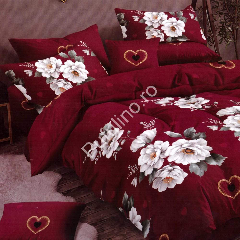 lenjerie de pat finet rosie cu flori albe