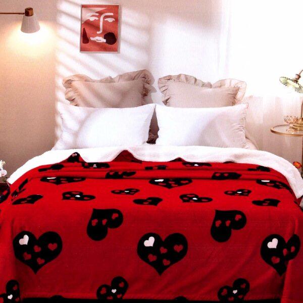 Patura Cocolino rosie cu inimi PUF6168