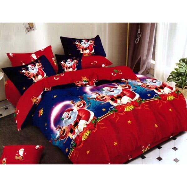 Lenjerie Finet Gros Pucioasa, Happy Santa, 6 Piese, Pat 2 Persoane - PUF6203