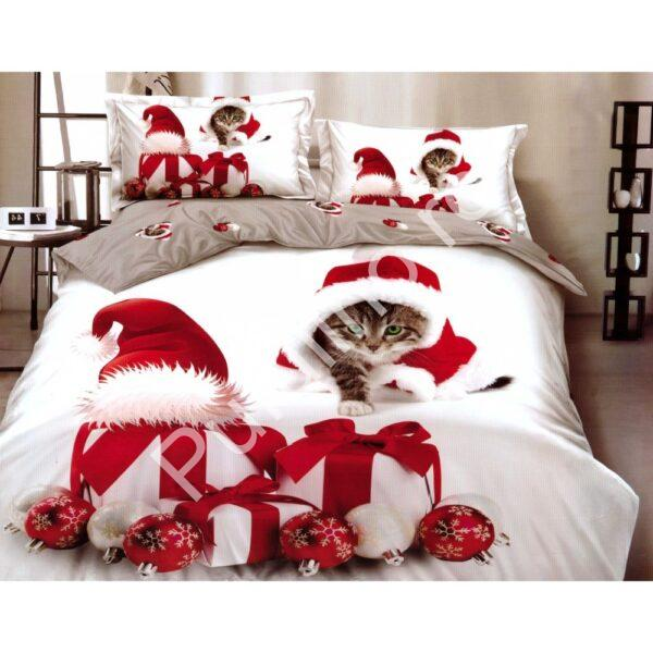 Lenjerie Finet Gros Pucioasa, Santa`s Cat, 6 Piese, Pat 2 Persoane - PUF6222