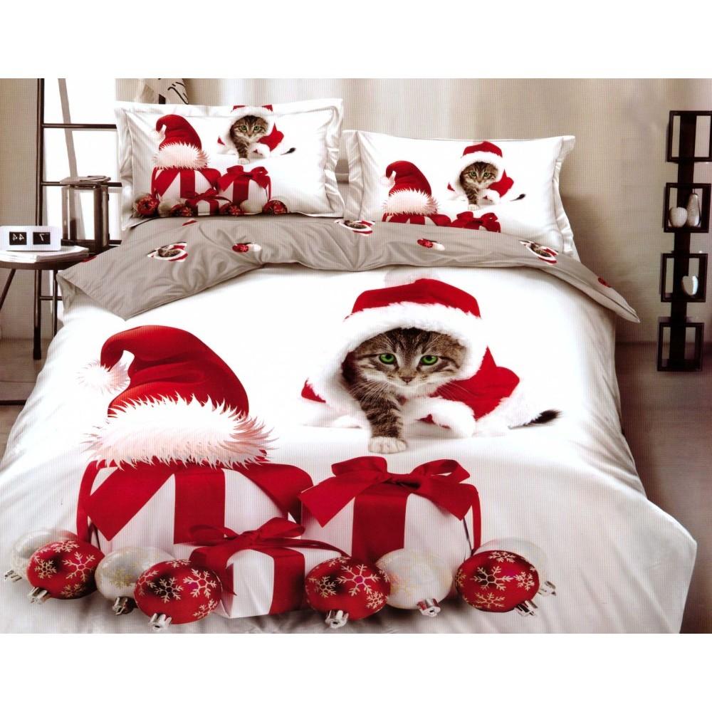 Lenjerie Finet Gros Pucioasa, Santa`s Cat, 6 Piese, Pat 2 Persoane - PUF6222