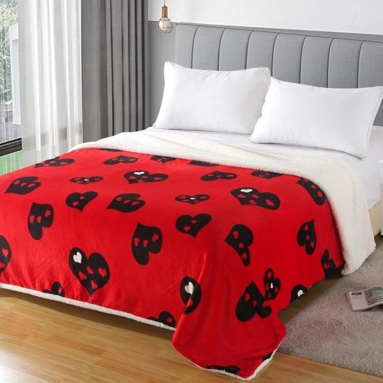 Patura dubla Cocolino cu blanita, Multicolor Hearts, pat 2 persoane - PUF6168
