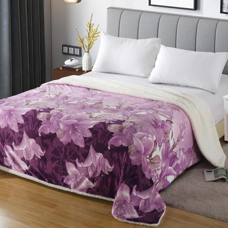 Patura dubla Cocolino cu blanita, Purple Tulips, pat 2 persoane - PUF6160