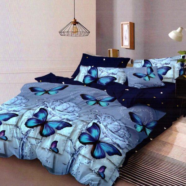 lenjerie de pat finet cu fluturi albastrii