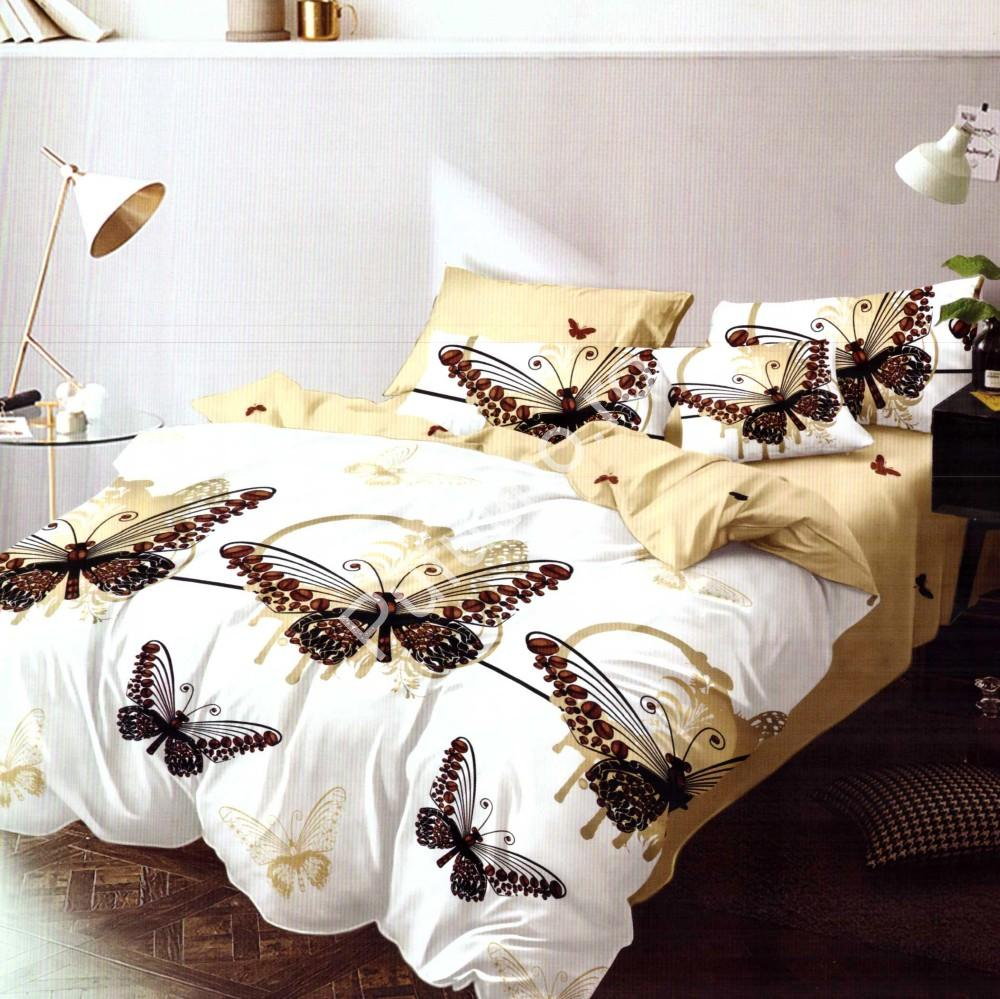lenjerie de pat finet galbena cu fluturi