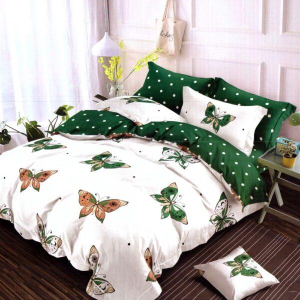 lenjerie de pat finet cu fluturi verzi