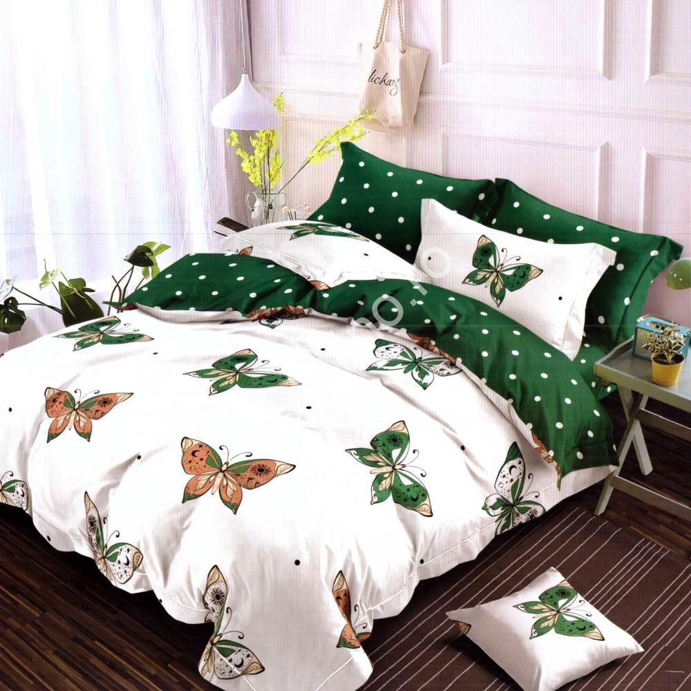 lenjerie de pat fnet cu fluturi verzi