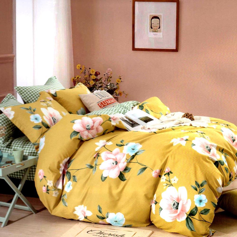 Lenjerie galbena cu flori bumbac gros PUF7230