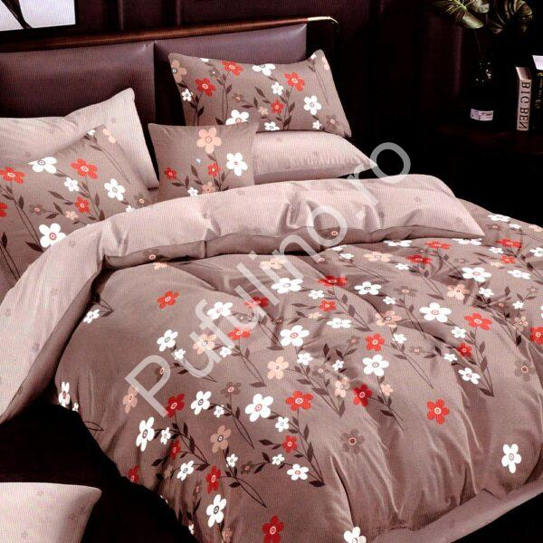 Lenjerie de pat crem cu model floral Super Elegant Pucioasa PUF7656