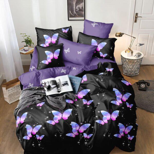 lenjerie violet cu fluturi 1 persoana