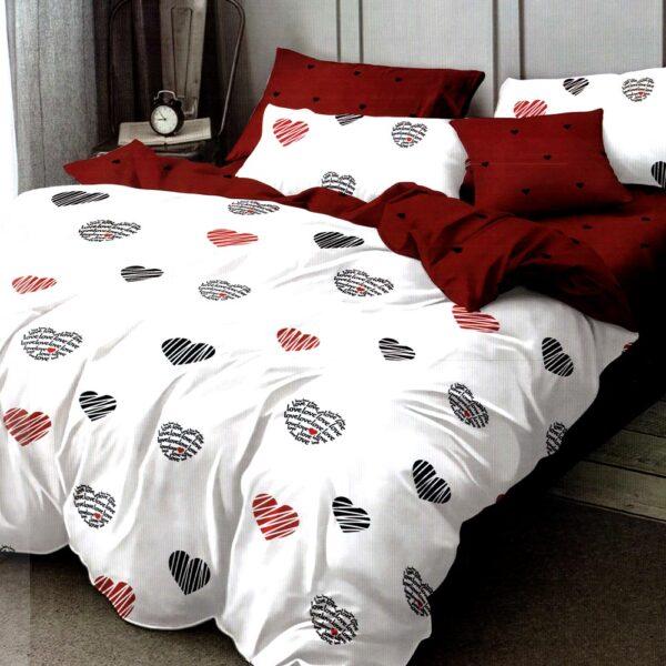 Lenjerie alba cu inimioare finet gros Home Style PUF7187