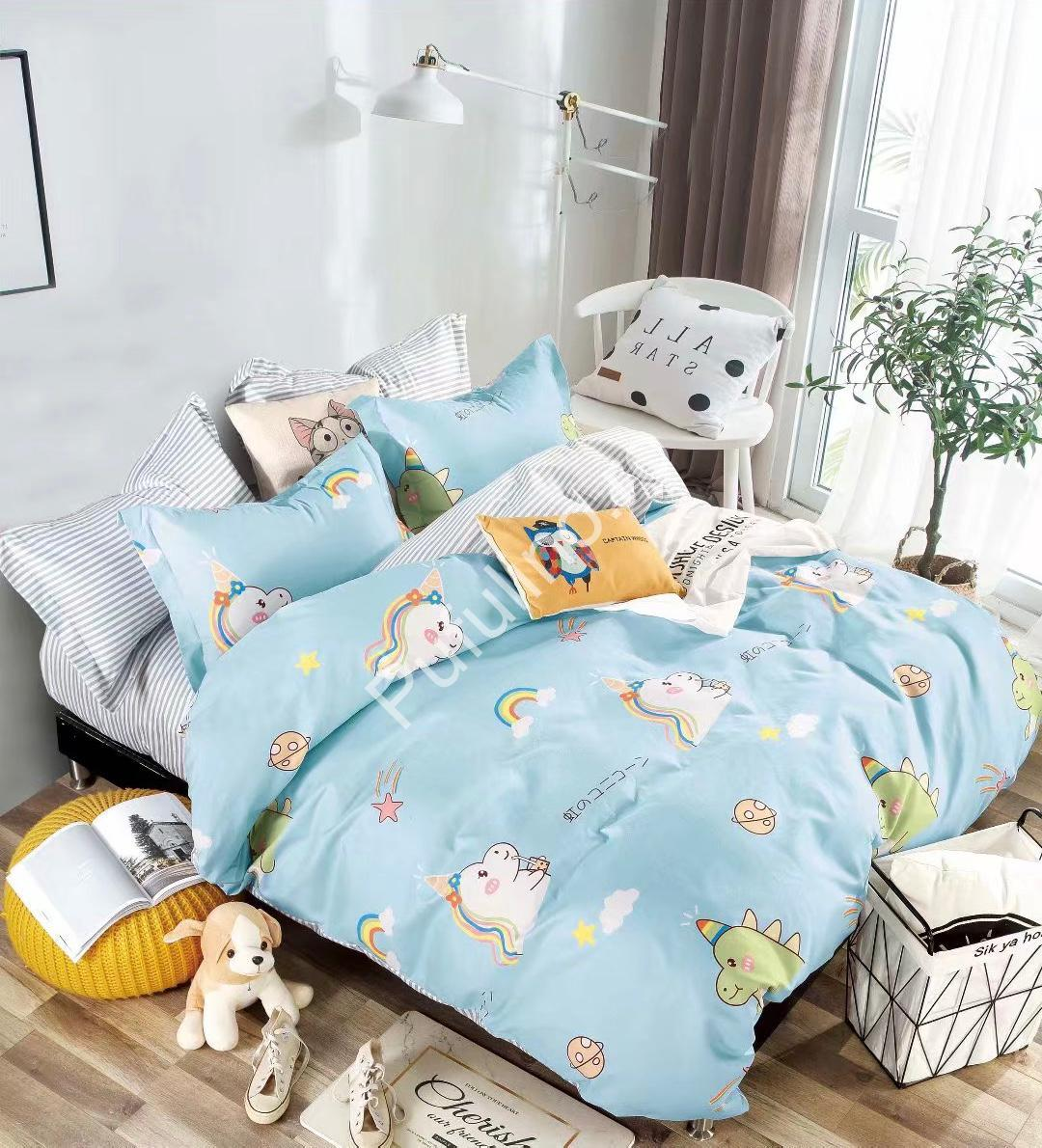 lenjerie de pat 1 persoana cu unicorn