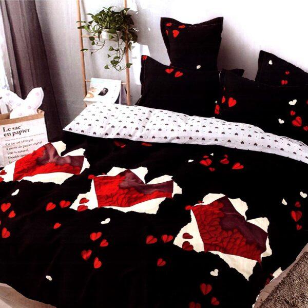 Lenjerie neagra cu inimioare rosii Casa Pucioasa PUF7323