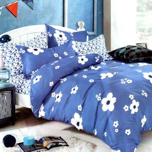 Lenjerie albastra cu flori bumbac satinat PUF7086