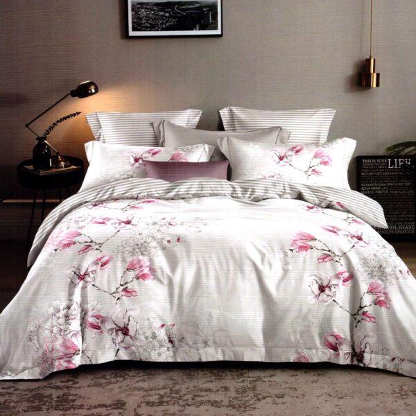 Lenjerie gri cu flori roz bumbac finet PUF7183