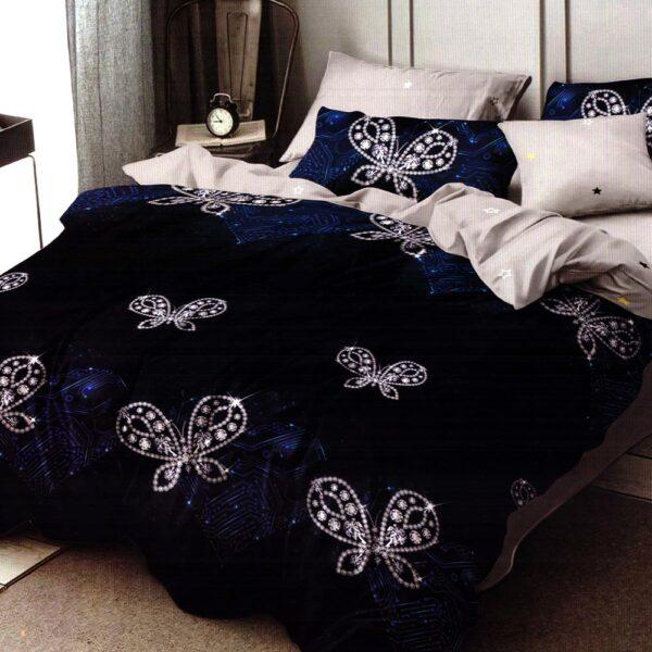 Lenjerie bleumarin cu fluturasi finet gros Home Style PUF7192