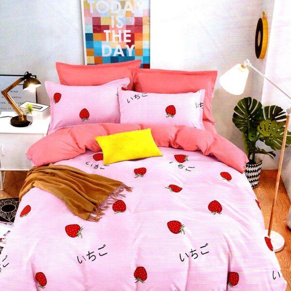 Lenjerie roz cu capsuni bumbac satinat PUF7215