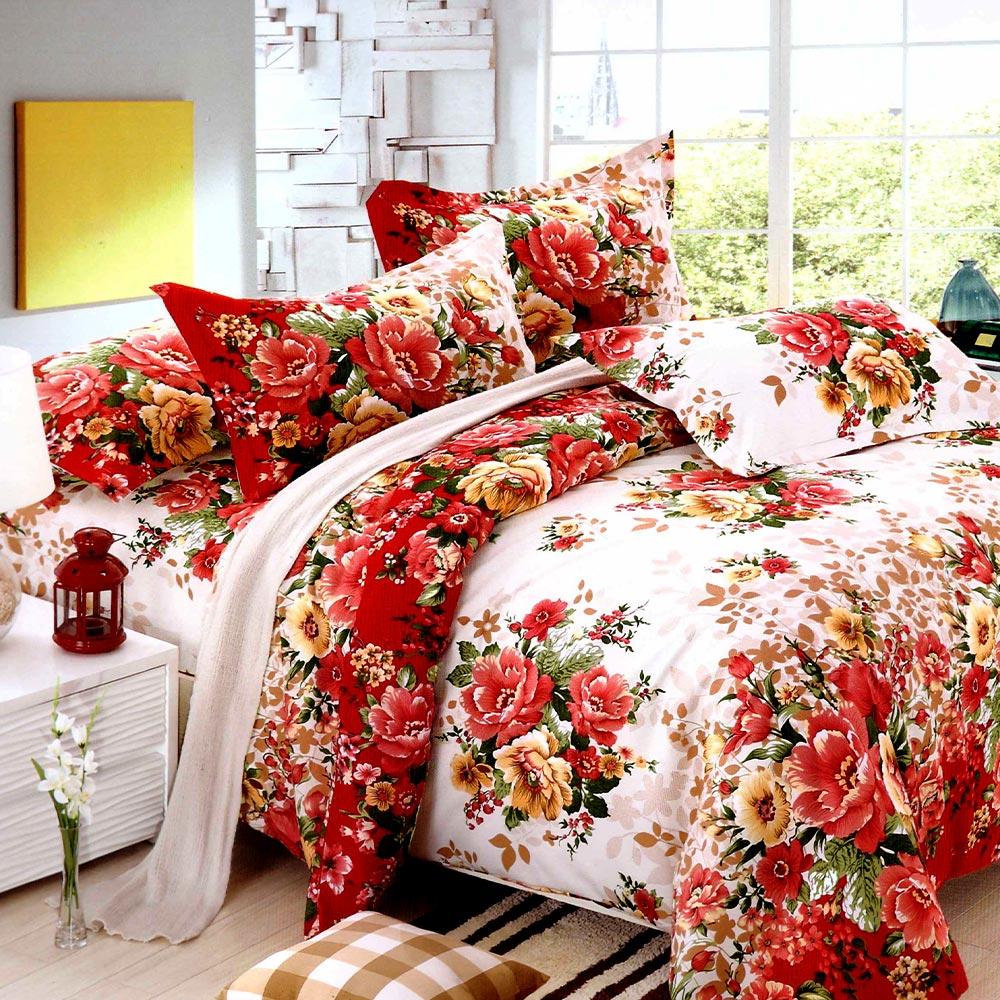 Lenjerie alba cu flori rosii din finet gros PUF7232