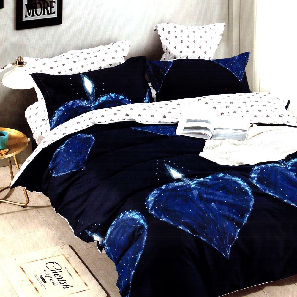 Lenjerie bleumarin cu inimi albastre Casa Pucioasa PUF7312