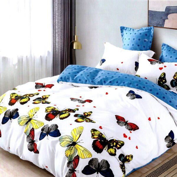 Lenjerie alba cu fluturi colorati Casa Pucioasa PUF7635