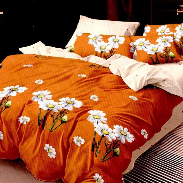 Lenjerie portocalie cu flori albe Super Elegant Pucioasa PUF7669
