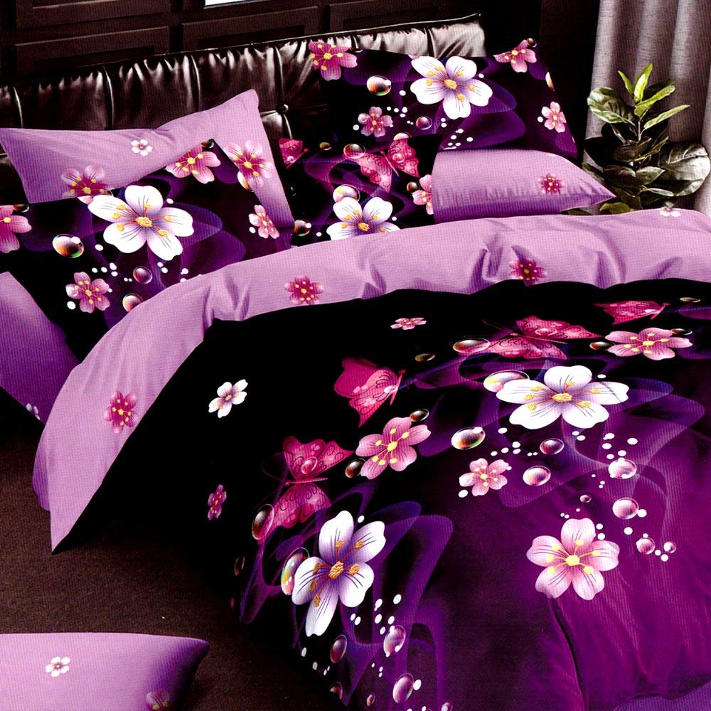 Lenjerie finet gros violet cu flori PUF7676
