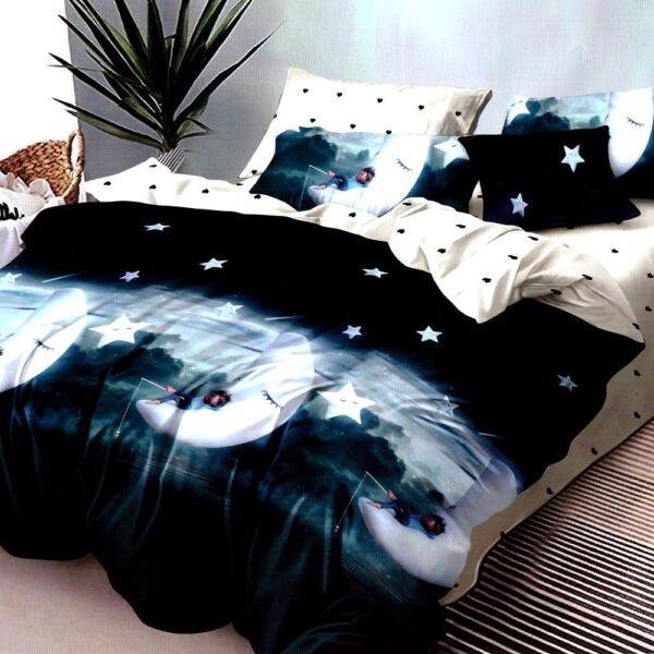 Lenjerie de pat din finet gros turcoaz inchis PUF7678
