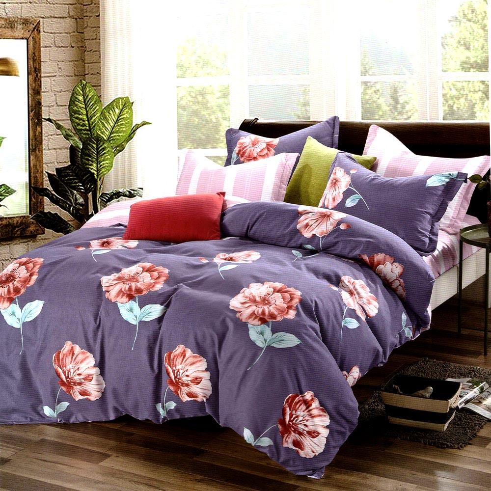 Lenjerie violet cu flori finet gros PUF8147