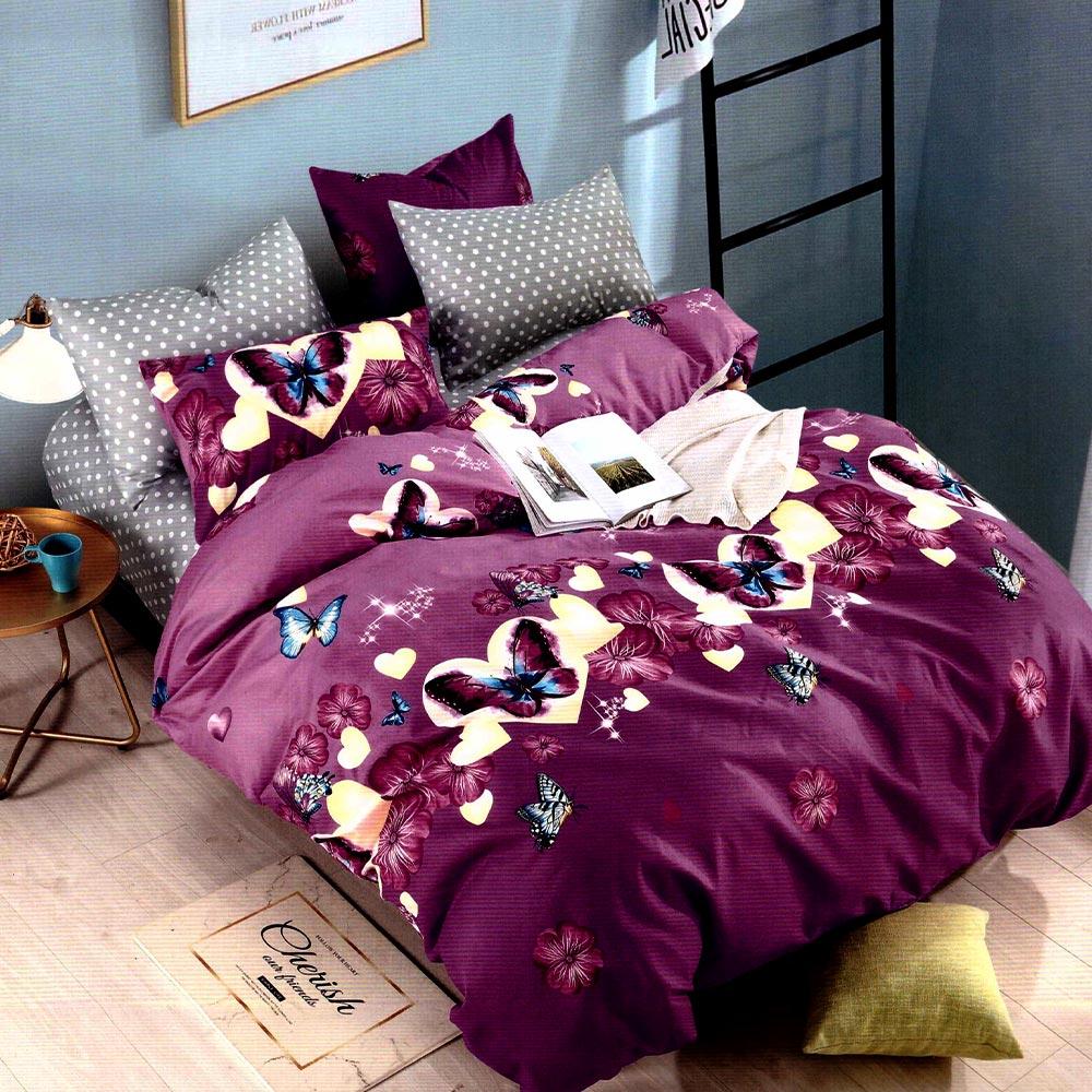 Lenjerie violet din bumbac finet cu fluturi PUF8166