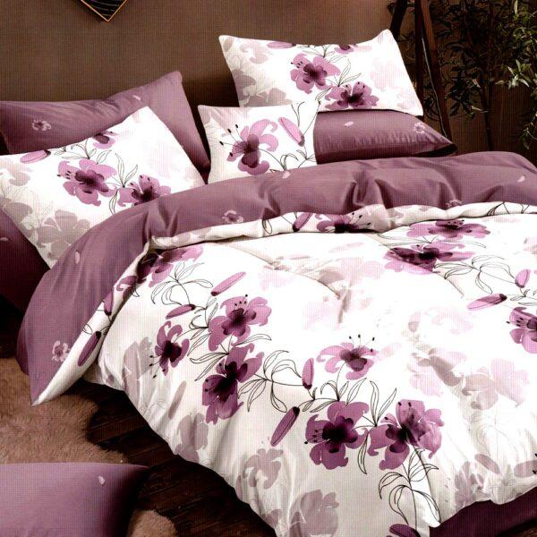 Lenjerie alba cu flori violet Super Elegant Pucioasa PUF8271