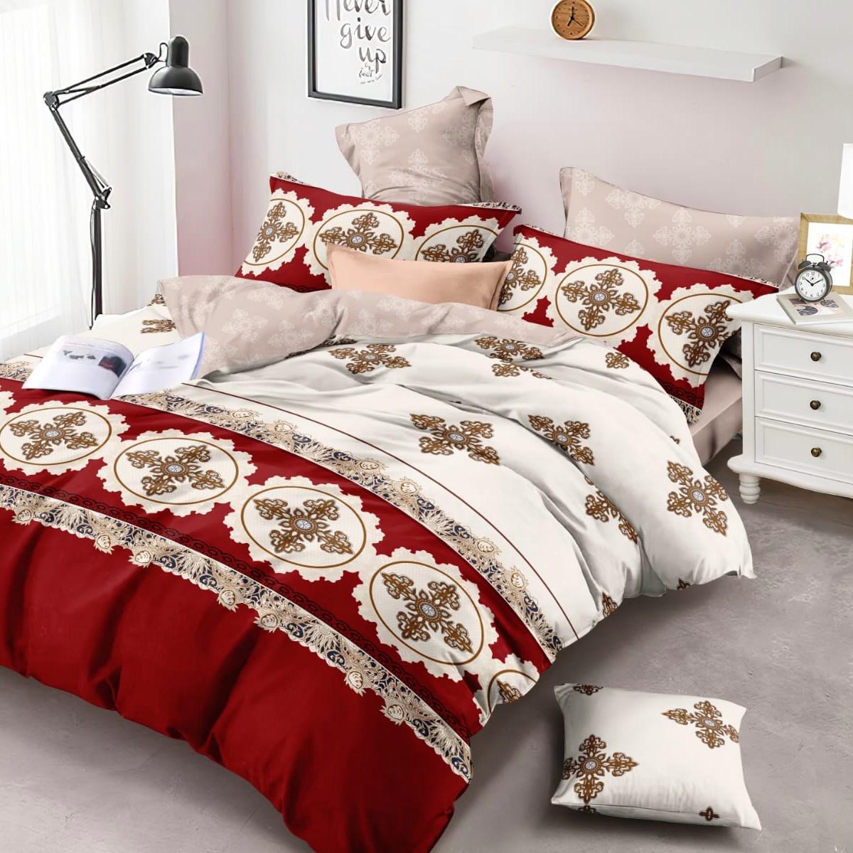 Lenjerie de pat rosie cu imprimeu abstract