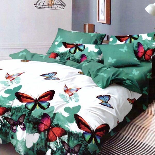 lenjerie alb verde cu fluturi